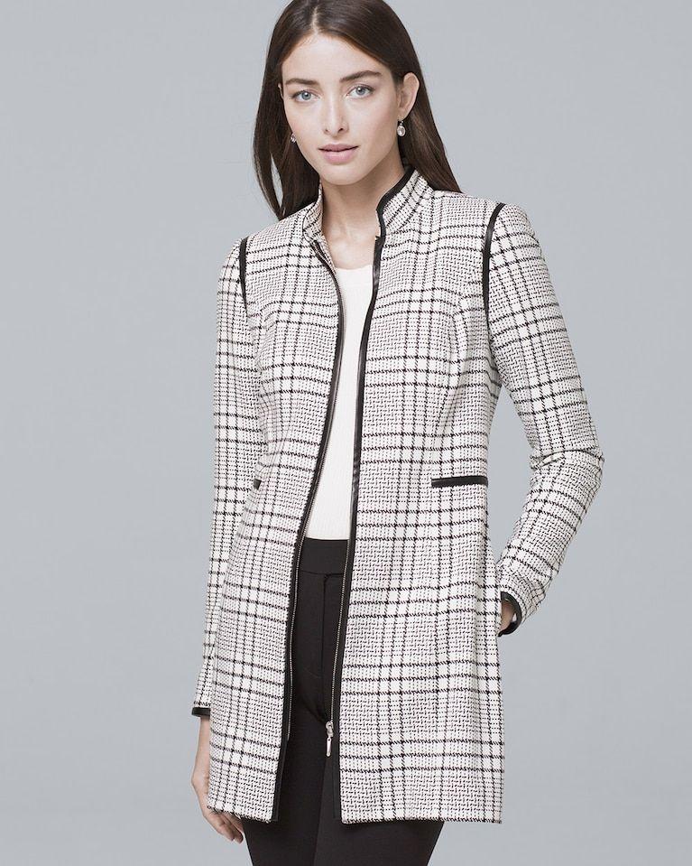 e9b3fd084a Women's Faux Leather-Trim Plaid Topper by White House Black Market ...