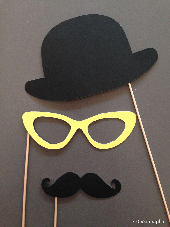 kit de 3 accessoires photobooth   chapeau melon, moustache, lunette par  crea-graphic a4ed88a5b6d1