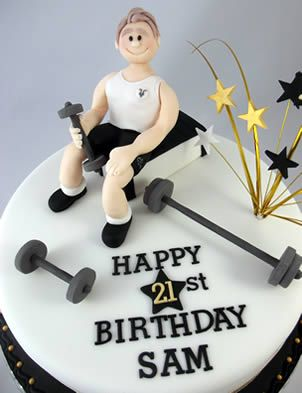 Weightlifting And Gym 21st Birthday Cake Fondant Gum Psate And