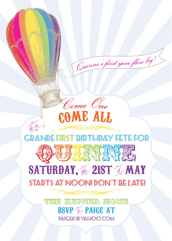 Rainbow Hot Air Balloon Birthday Invitation- Printable | Hot air ...
