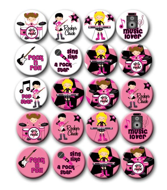 Rock star Party Favors Tween Girl Birthday Rocker Party 1.25 inch pinback buttons Party Like a Rock Star