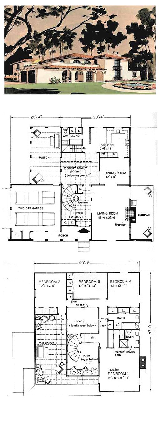 Prairie Style House Plan 43008 With 4 Bed 3 Bath 2 Car Garage Spanish Style Homes Vintage House Plans Spanish Style