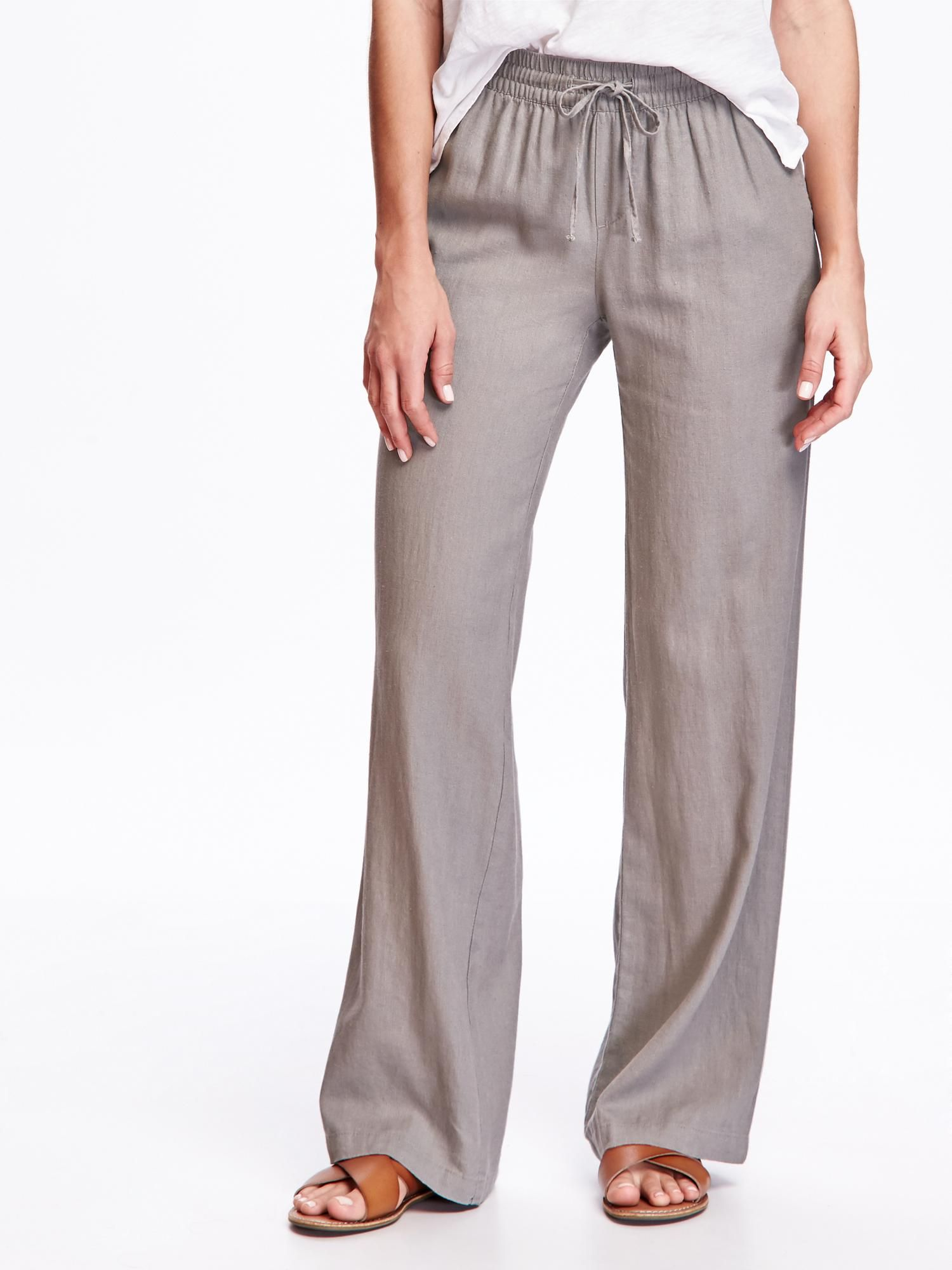801bae205c289 Mid-Rise Linen-Blend Wide-Leg Pants for Women