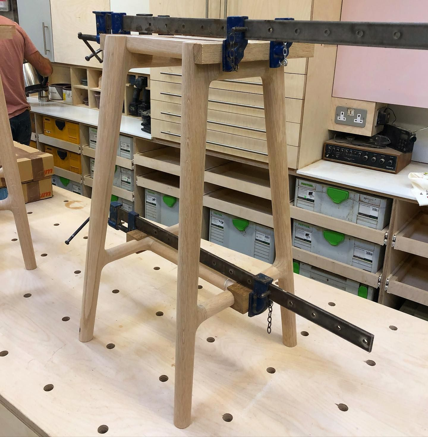First of these bases glued up they are starting to look like stools! Now just the tops to make and they should be ready for delivery. #handmade #oak #furnitire #furnituremaker #designermaker #makersofinstagram #makersmovement #makersgonnamake #seating #howitsmade #howitsdone #howitsmadematters #woodworking #workshop #onthebench