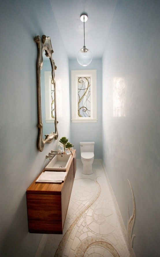 Very Narrow Bath modern small powder room design ideas | ancient greek art, greek