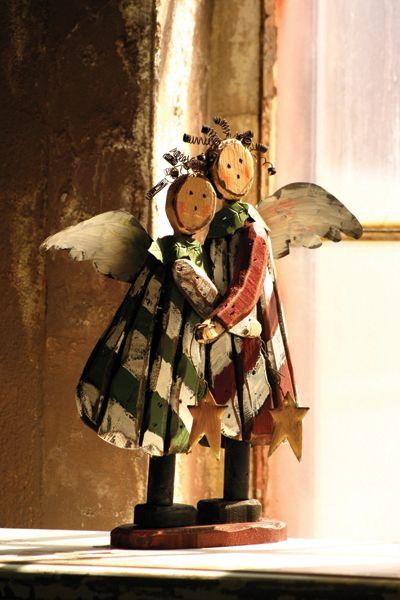 striped hugging wooden angels   $49.00