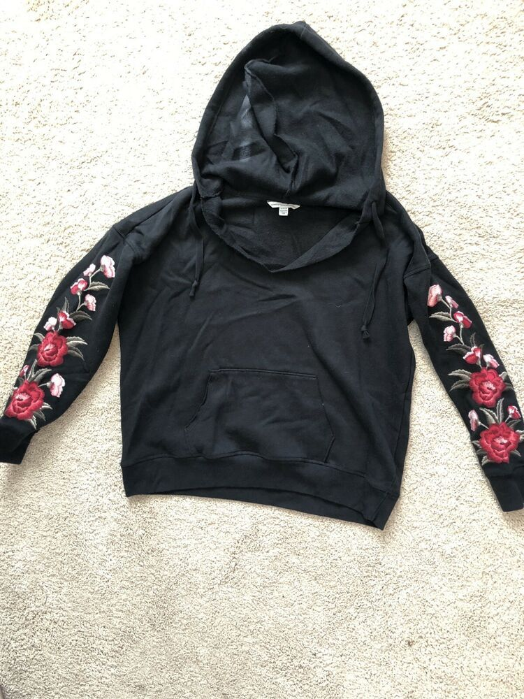 American Eagle Juniors Womens Black Hooded Sweatshirt Size