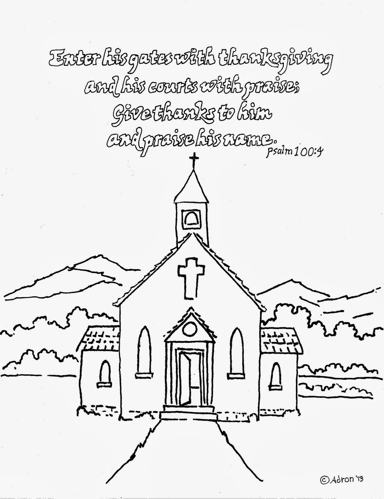 Thanksgiving coloring pages with bible verses - Coloring Pages For Kids By Mr Adron Enter His Gates With Thanksgiving Free Kid S Colo