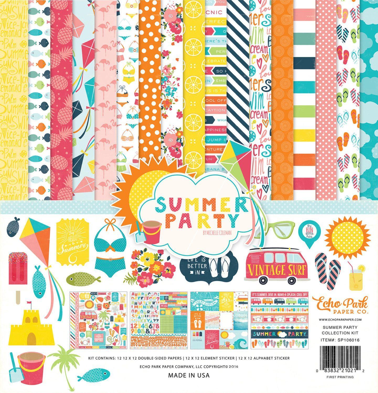 Scrapbook paper collections - Echo Park Paper Summer Party Collection 12 X 12 Scrapbook Paper And Sticker Kit