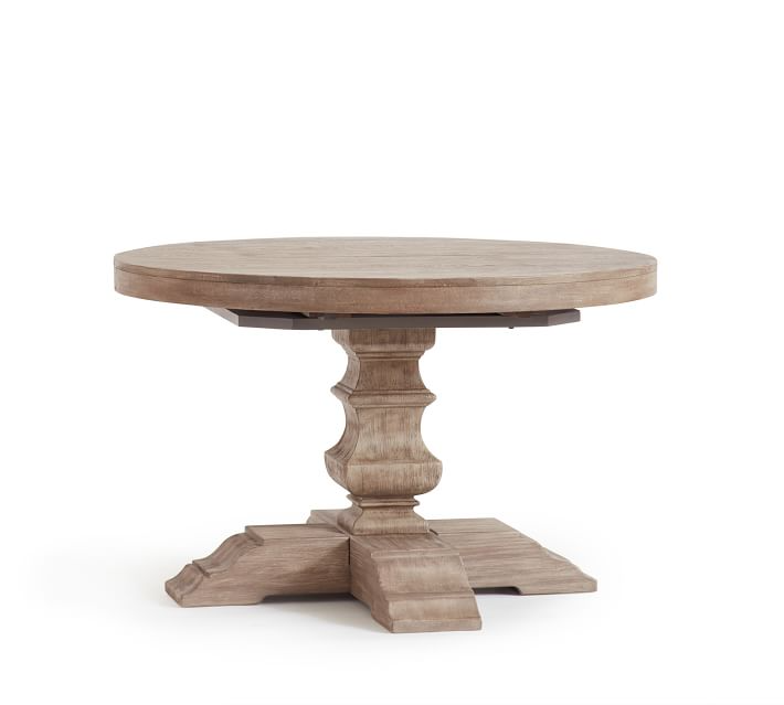 Banks Round Pedestal Extending Dining Table Gray Wash 48 72 L Pottery Barn In 2021 Round Pedestal Dining Round Pedestal Dining Table Dining Table