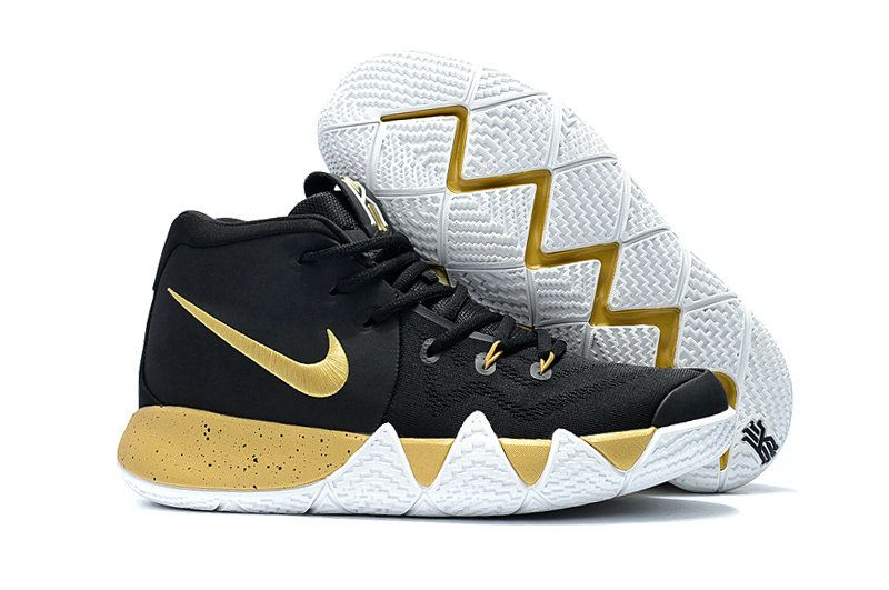 54e38bb1cc19 Mens Original Nike Kyrie 4 Core Black Gold White Basketball Shoes ...