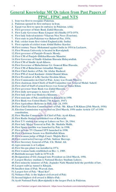 Pakistan General Knowledge MCQs | doc in 2019 | Past papers