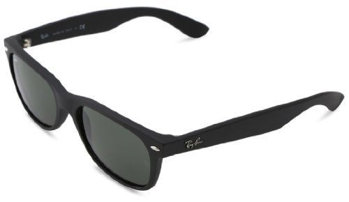 Ray-Ban RB2132 New Wayfarer Sunglasses, Black Rubber Frame/Green ...