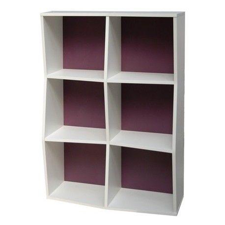 Etagere De Bureau En Bois 6 Cases Prisma Blanc Violet Meuble Rangement Bureau Bois Meubles De Rangement