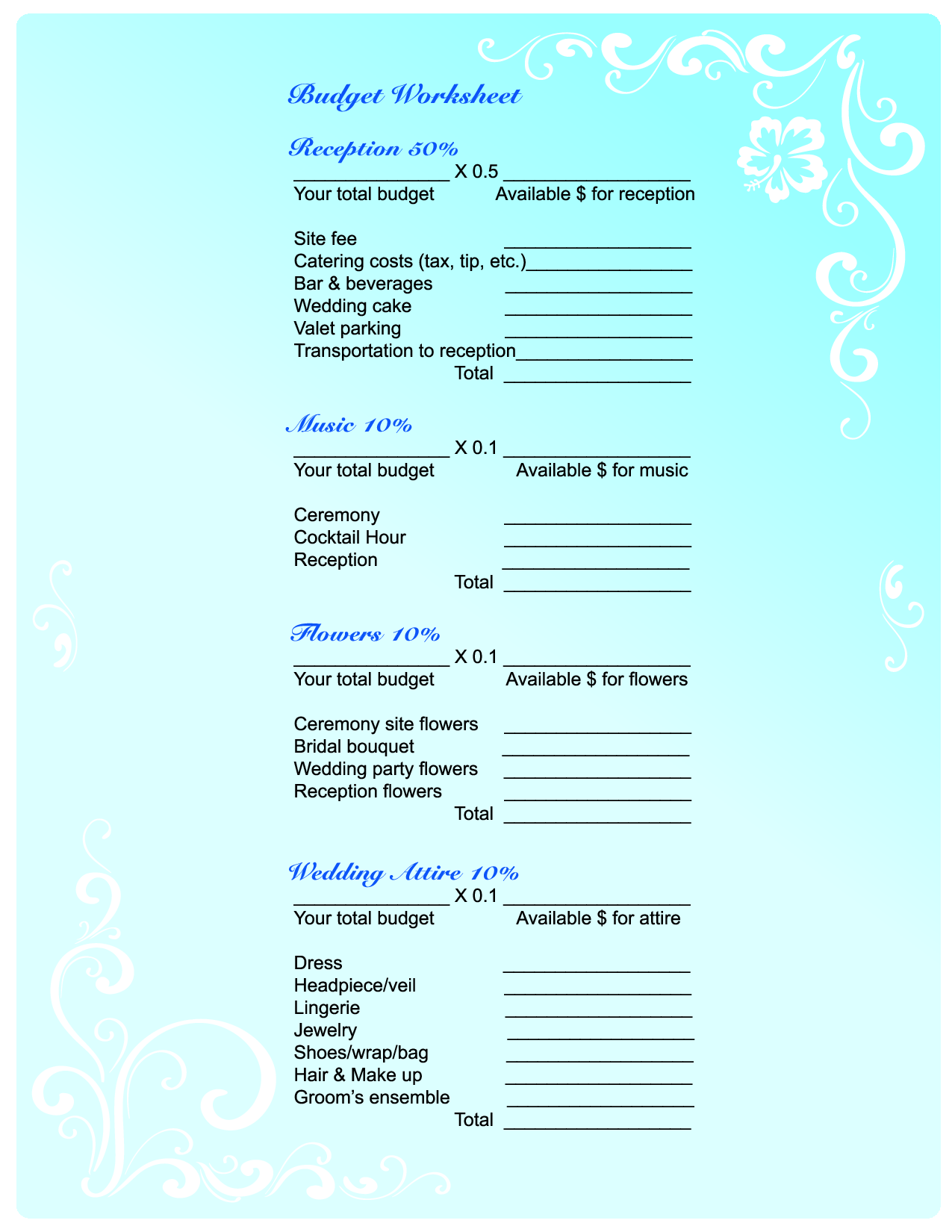 Free Wedding Planning Budget Worksheet Quelles Astuces