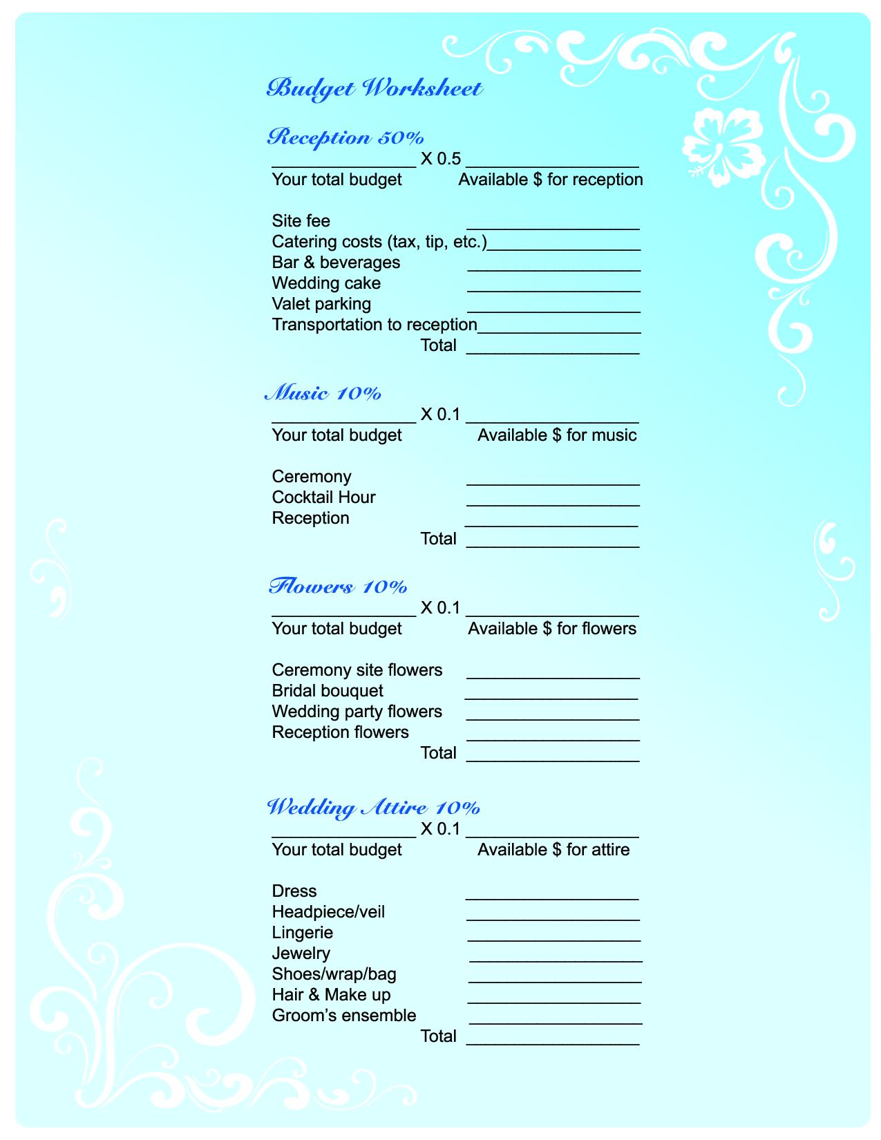 Free Wedding Planning Budget Worksheet Quelles Astuces