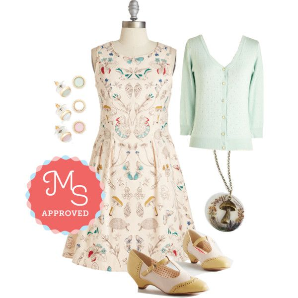 In this outfit: I Dream of Genus Dress, After School Lounging Cardigan in Pistachio, Pastel Perfection Earring Set, Be Toadstool My Heart Necklace, Care to Dance? Heel in Matte Yellow #fun #quirky #dresses #cute #ModCloth #ModStylist #fashion #style #ootd