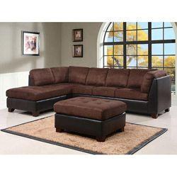 Abbyson Charlotte Dark Brown Sectional Sofa And Ottoman By Abbyson