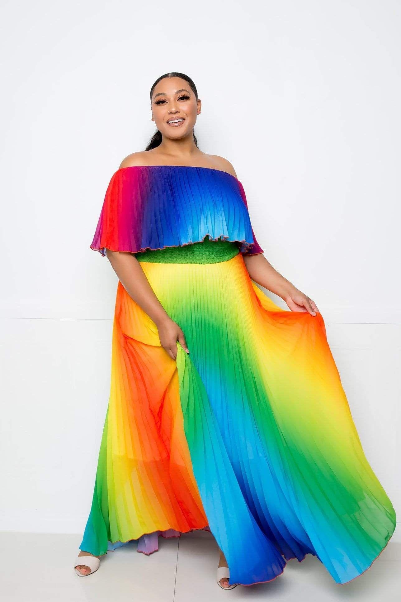 Off The Shoulder Rainbow Maxi Dress 1x Maxi Dress Dresses Orange Maxi Dress [ 1932 x 1288 Pixel ]