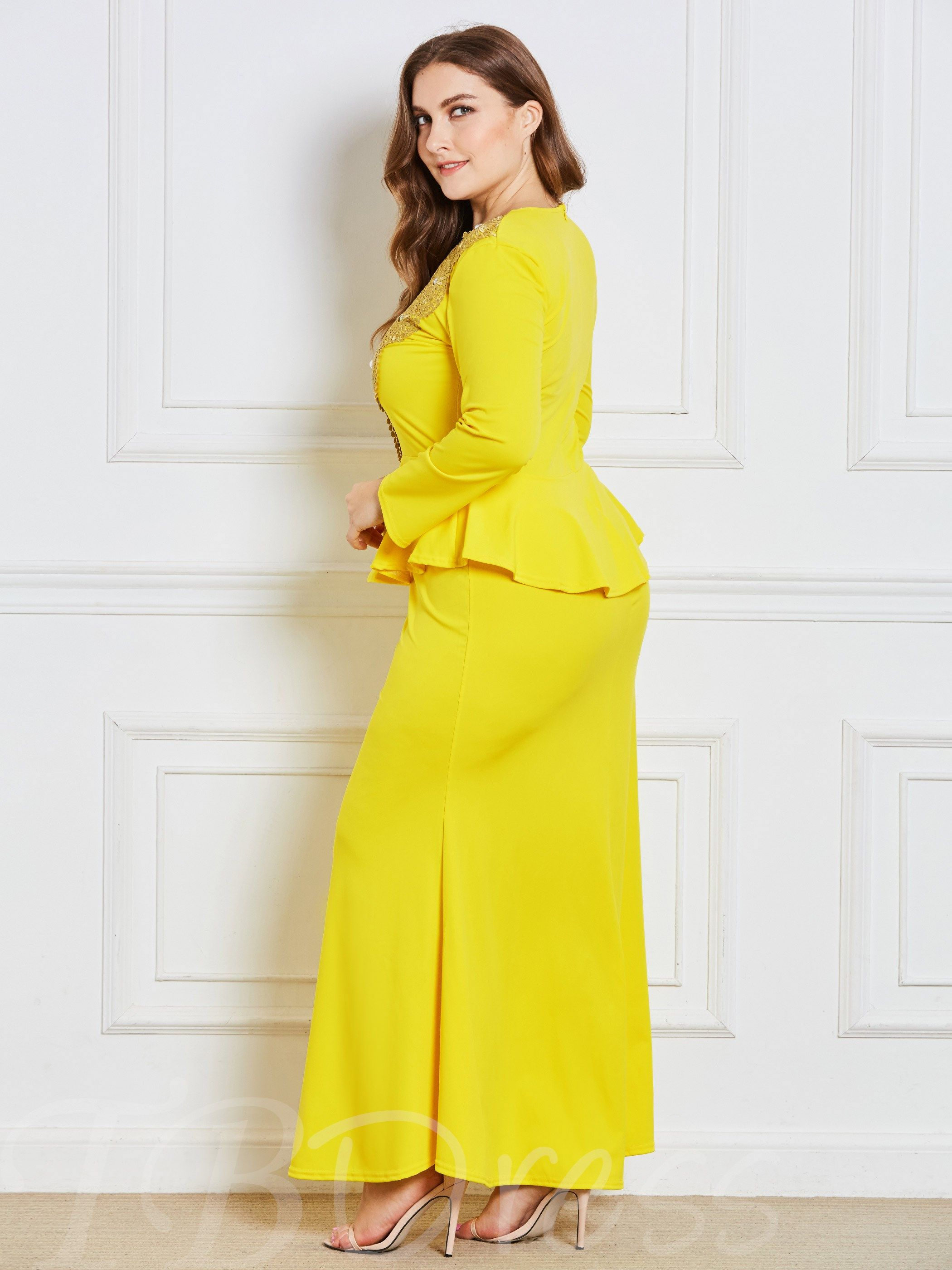 Plus size long sleeve doublelayered womenus maxi dress places to