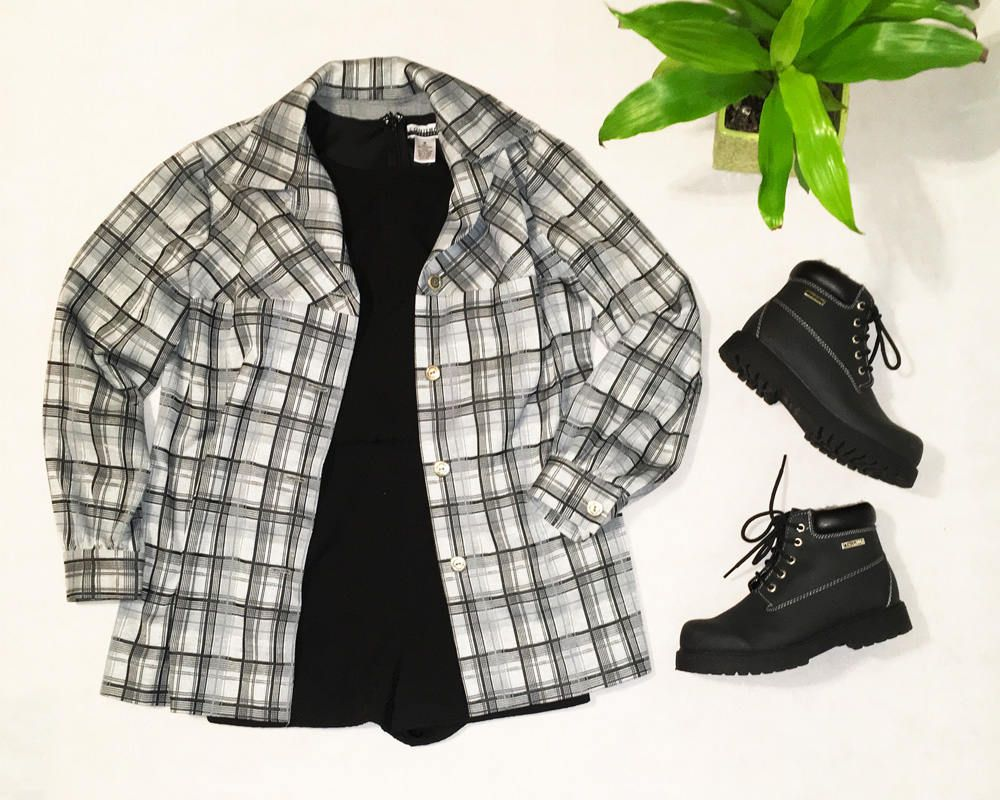 Red flannel vest womens  Grey Black Plaid Flannel ShirtJacket  Buttonup Shirt  Womenus