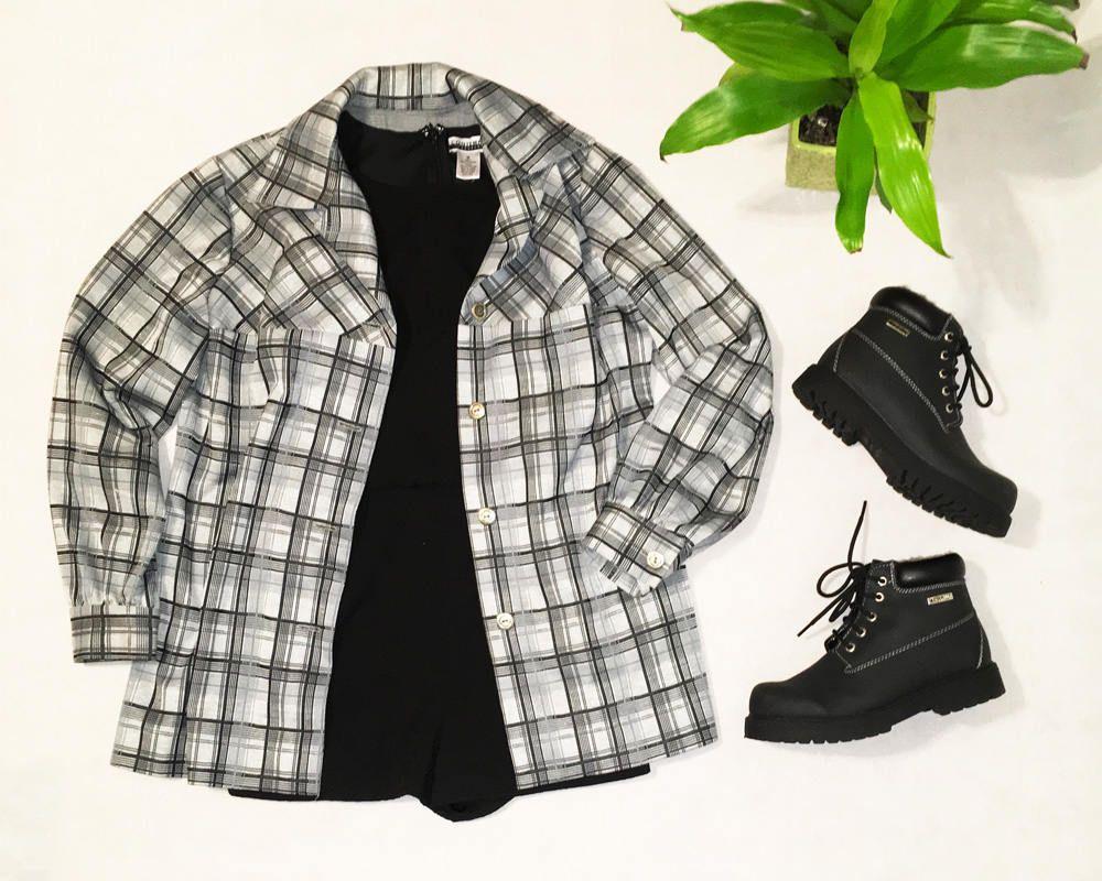 Flannel shirt black  Grey Black Plaid Flannel ShirtJacket  Buttonup Shirt  Womenus