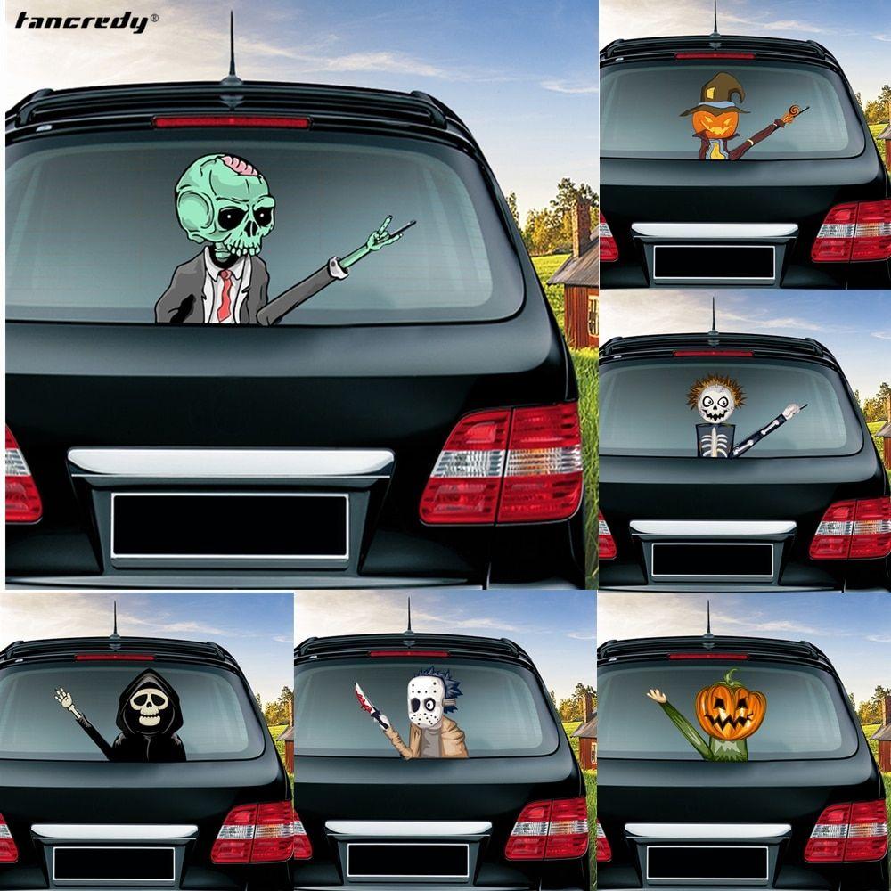 Halloween Horror Skull Pumpkin Mask Man Car Sticker Rear Windshield Decals Auto Decoration Car Styling Rear Window Wiper Sticker Car Decor Skull Pumpkin Horror Skull [ 1000 x 1000 Pixel ]