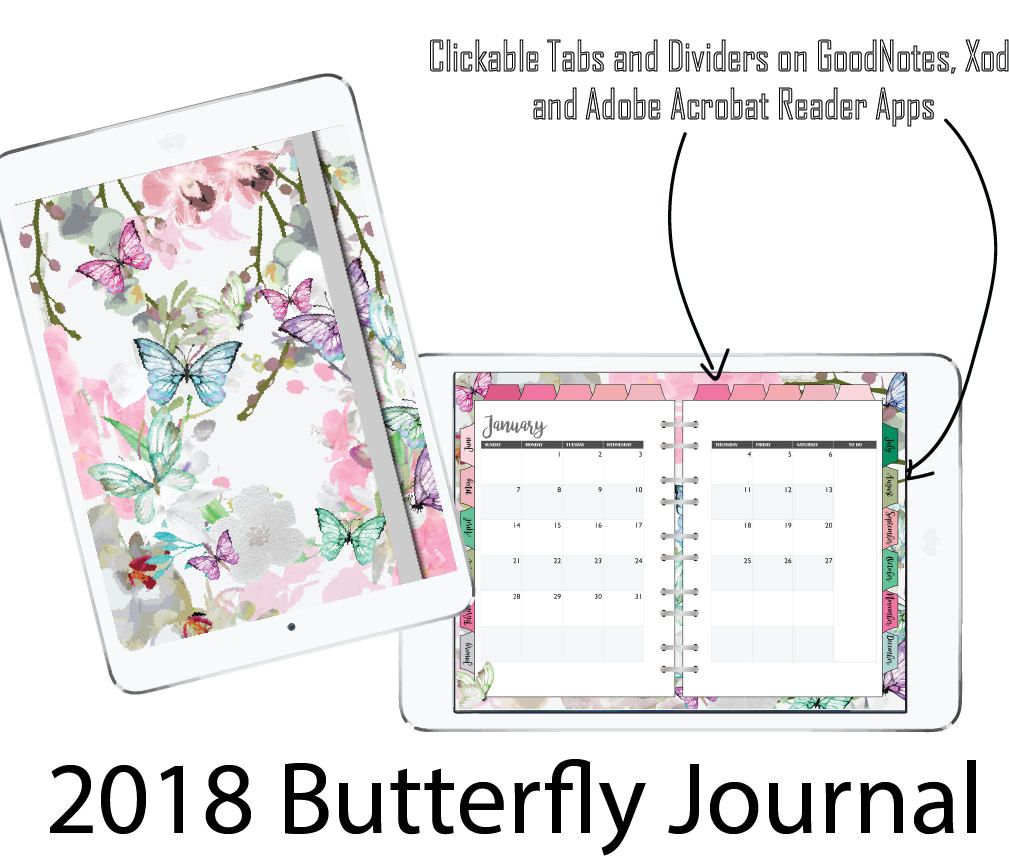 graphic about Digital Planners and Organizers called 2018 Electronic Planner for GoodNote application, Butterfly Magazine