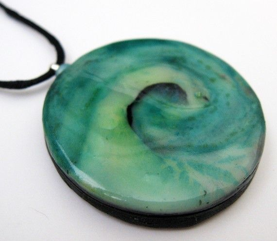 Wave Spiral Necklace by BijouxHibou on Etsy