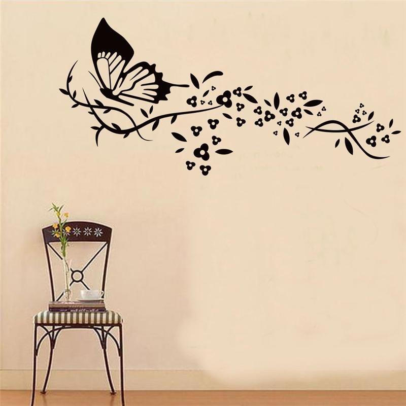 Vid De La Flor Vuelo De La Mariposa Pared Pegatinas Living Room Decor X019 Diy Tatuajes De Ani Wall Decor Stickers Wall Stickers Living Room Creative Wall Art