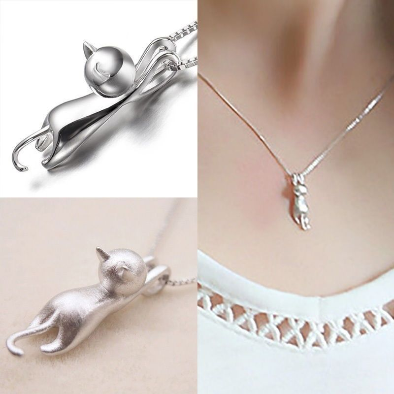 Silver plated cute cat necklace pendant da zen monk 2495 http fashion women 925 sterling silver cat chain pendant necklace charm jewelry new aloadofball Images