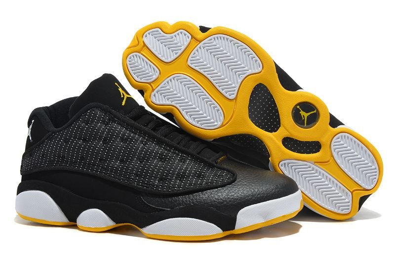 separation shoes 548a2 5eb84 Nike Air Jordan 13 Shoes Men  s Black White Yellow With Low Style
