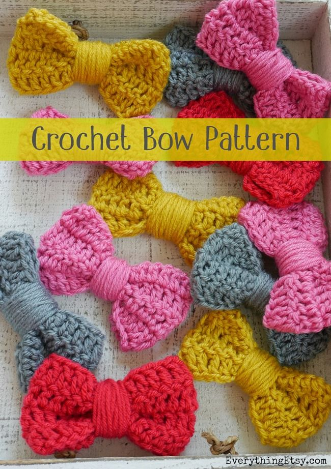 Crochet Bow Pattern {Easy Peasy Tutorial} (Everything Etsy) | Tejido ...