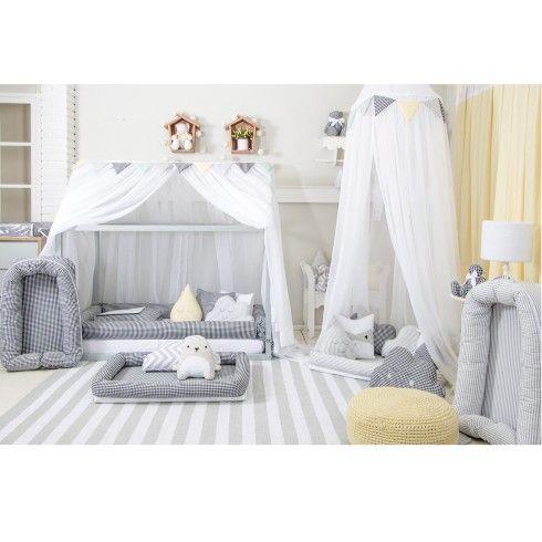 Mosquiteiro para cama montessoriana branco montessori for Decoracion habitacion infantil montessori