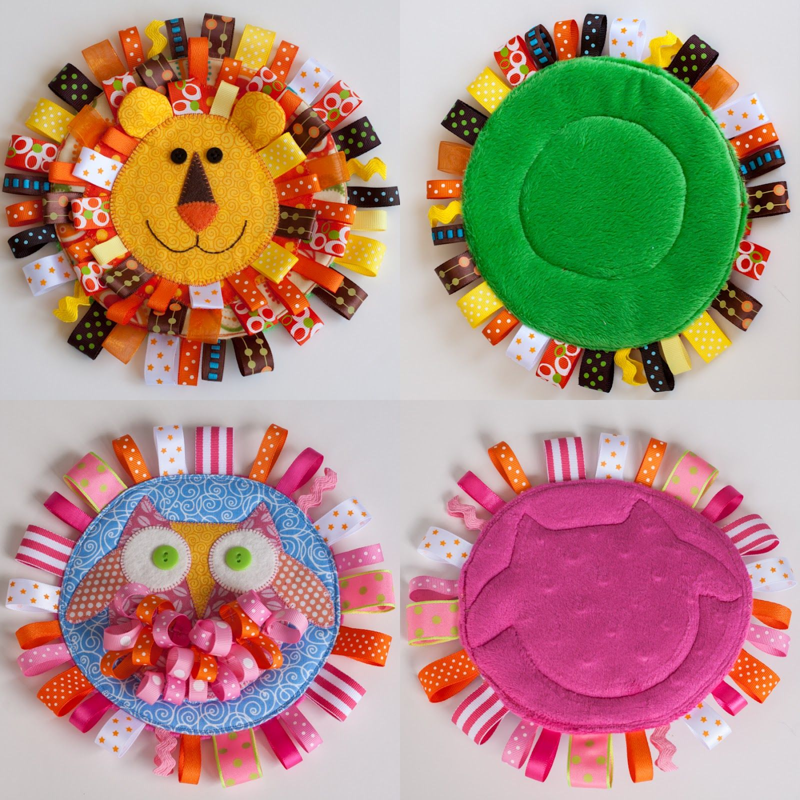 Lion and Owl Baby Sensory Tag Toys Sewing projects