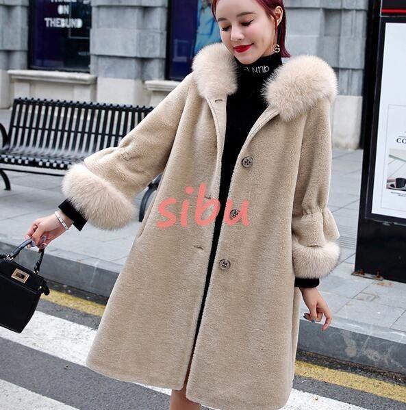 67da92529a4 Real Fur Women s 100% cloak Mink Fur Coat Parka Fox fur collar Jacket  Overcoat