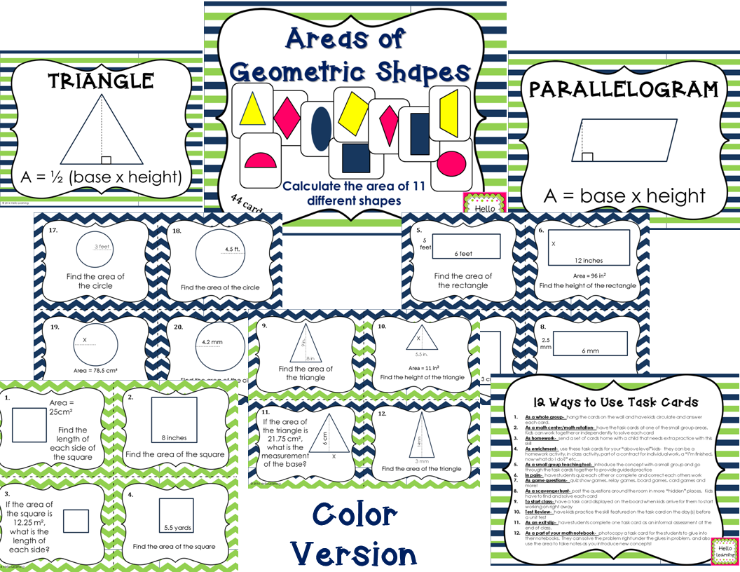 Areas Of Geometric Shapes 44 Task Cards 11 Different