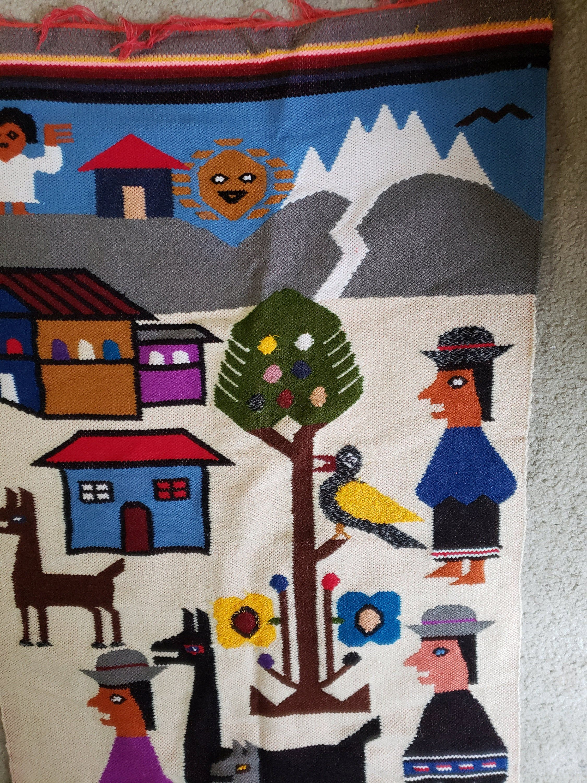 Peruvian Textile Wall Hanging Fiber Art Vintage Peruvian Etsy In 2021 Fiber Art Wall Hanging Textile Wall Hangings Fiber Art