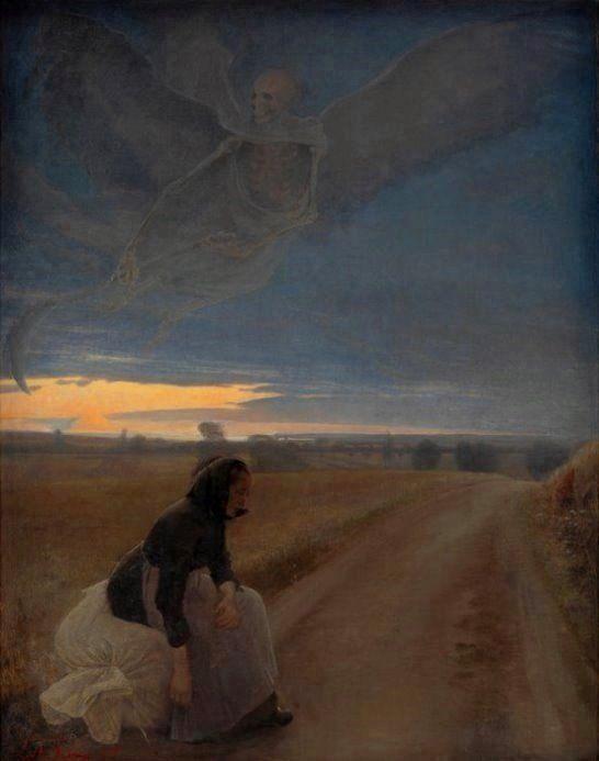 Ring, Lauritz Andersen (b,1854)- Aften. Den Gamle Kone Og Døden (Evening- Old Woman & Death)