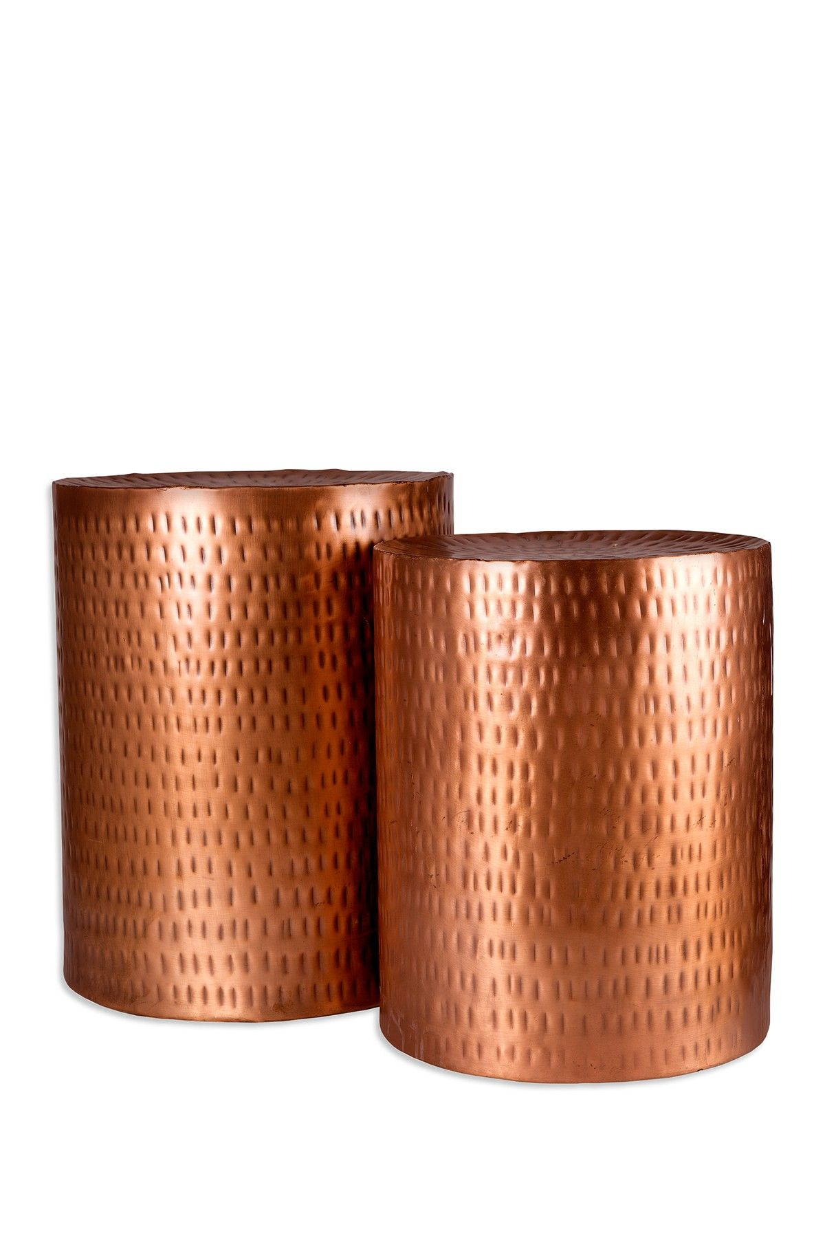 Home Essentials And Beyond Hammered Copper Garden Stool   Set Of 2