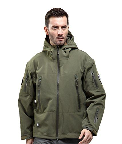 FREE SOLDIER Mens Outdoor Waterproof Soft Shell Hooded Military Tactical Jacket