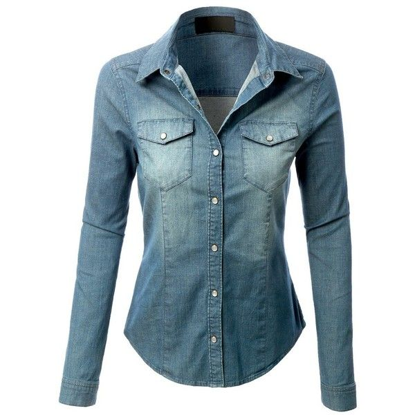 372fcd51ca LE3NO Womens Long Sleeve Chambray Denim Shirt ( 40) ❤ liked on Polyvore  featuring tops