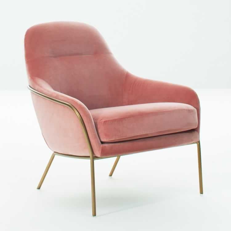 Miraculous Valentina Chair Astor Velvet Pink Grapefruit Light Bronze Machost Co Dining Chair Design Ideas Machostcouk