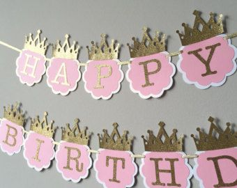 Pink and Gold High Chair Banner First by TinyEnchantments on Etsy