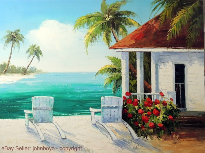 Painting Beach Chairs Home Caribbean Sand Coconut Palm Stretched Huge 36x48 Oil