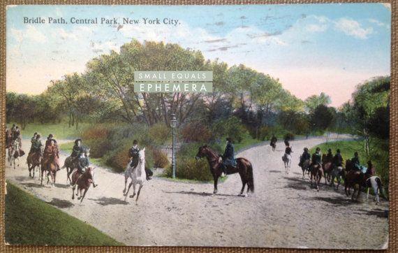 Postcard, Bridle Path, Central Park, New York City, 1914, horseback, equestrian, horse, riders