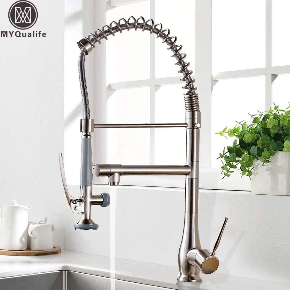 Brushed Nickel Spring Pull Down Kitchen Sink Faucet Kitchen Mixer