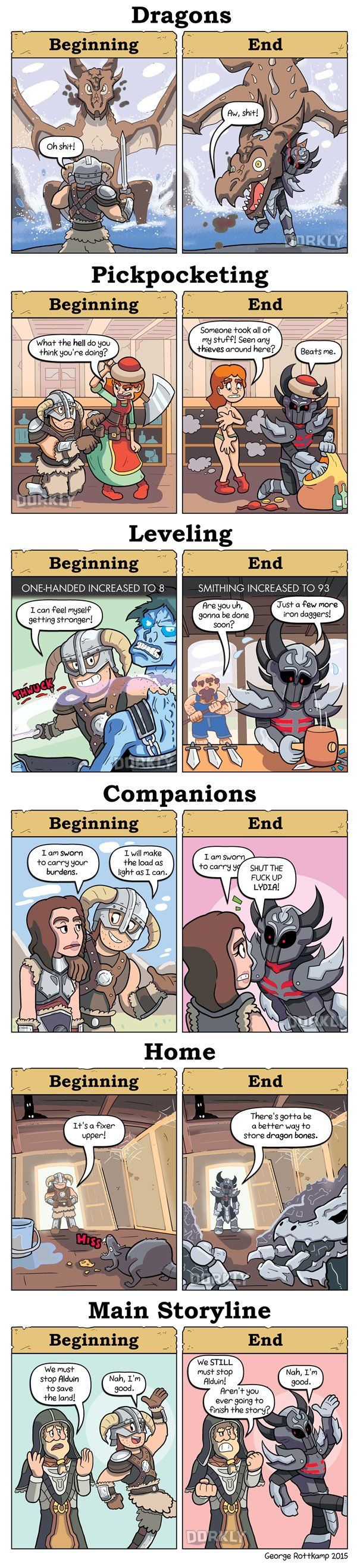 A fantastic comic by George Rottkamp and Tristan Cooper from Dorkly taking a look at how players handle various situation at the beggining vs. the end of Skyrim