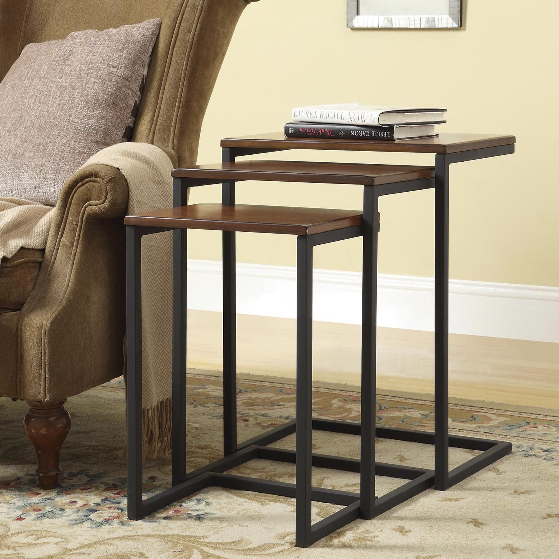 Rich Chestnut Finished Tops Pair With Blackened Metal To Style These Three  Olivia Nesting Tables,