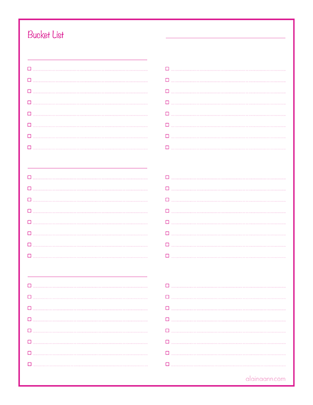 photograph regarding Bucket Template Printable named Bucket Record :: Geared up Everyday living Totally free Printable :: Alaina Ann
